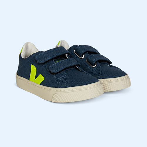 California Fluo Yellow Veja Small Esplar Velcro Canvas