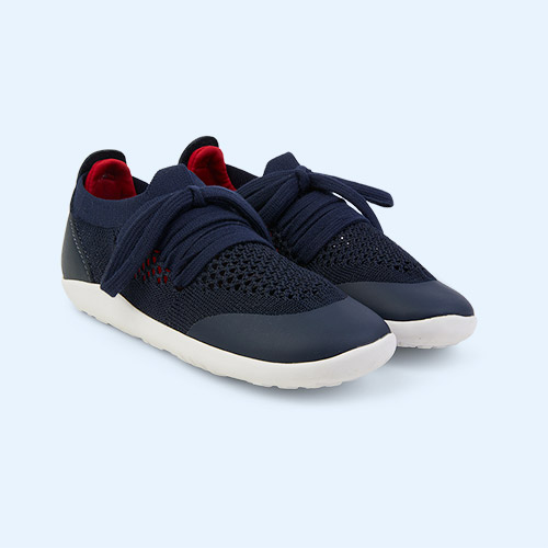 Navy + Red Bobux Kid + Play Knit Trainer