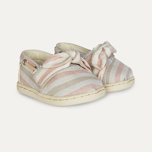 Pink TOMS Bimini Woven Stripe Bow Espadrille