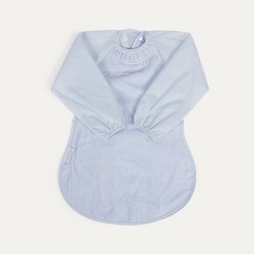 Dusty Blue Silly Billyz Long Sleeve Messy Eater Bib