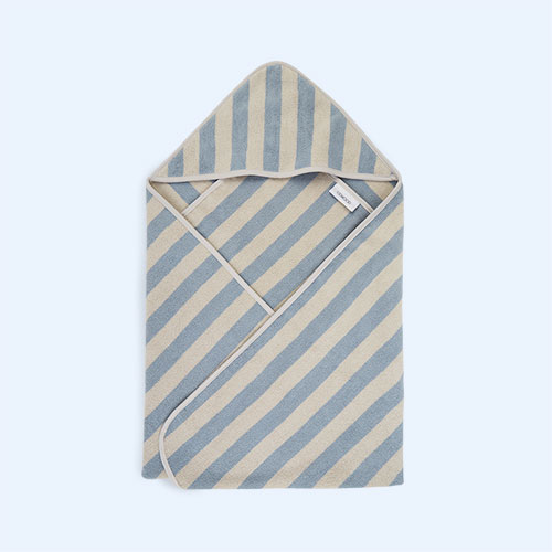 Sea Blue/Sandy Stripe Liewood Louie Hooded Towel