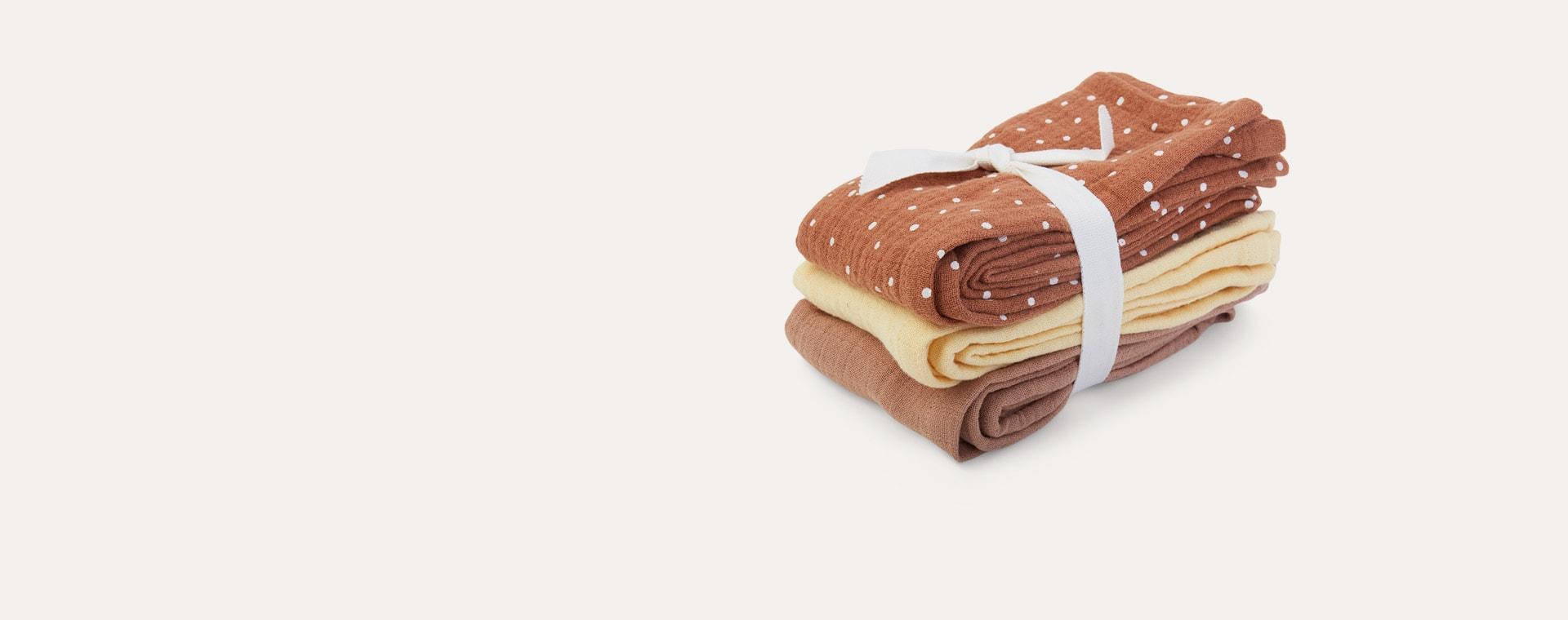Confetti Terracotta Mix Liewood Line Muslin Cloth 3 Pack
