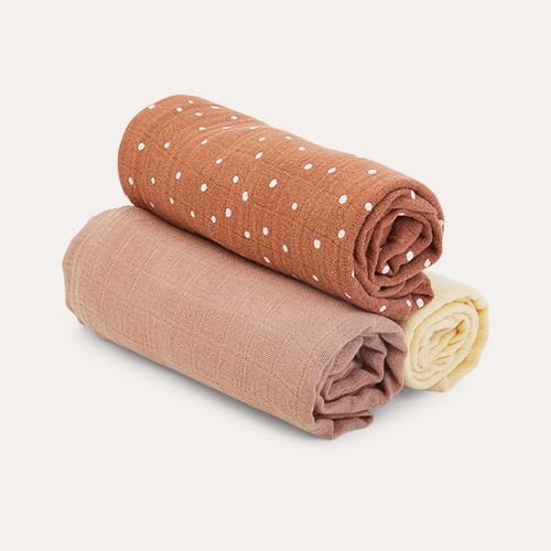 Confetti Terracotta Mix Liewood Line Muslin Cloth 3 Pack