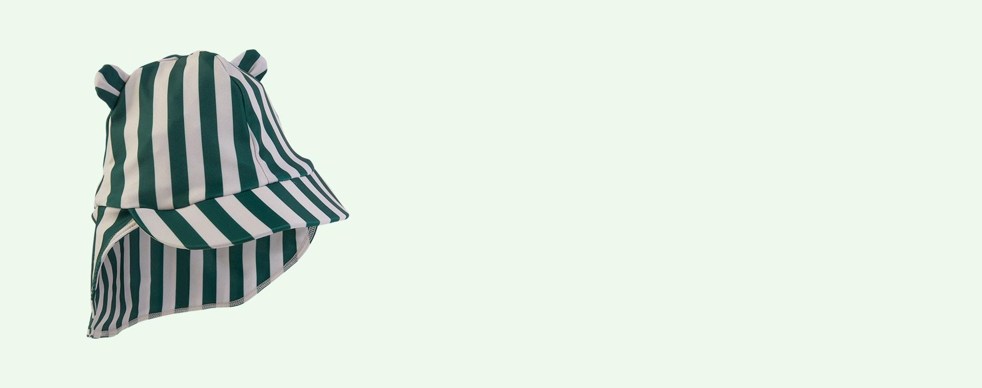 Stripe: Garden green/sandy Liewood Senia Sun Hat