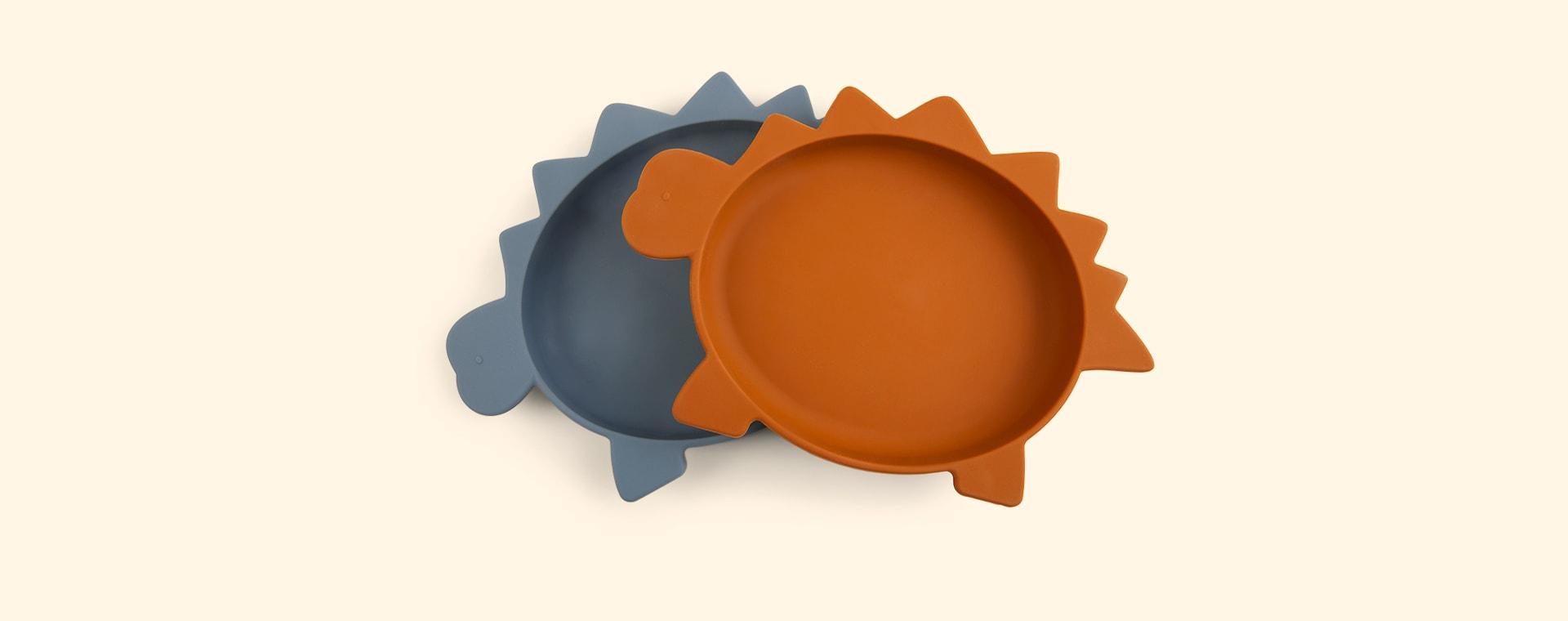 Dino Blue Wave Mustard Mix Liewood 2-Pack Olivia Plates