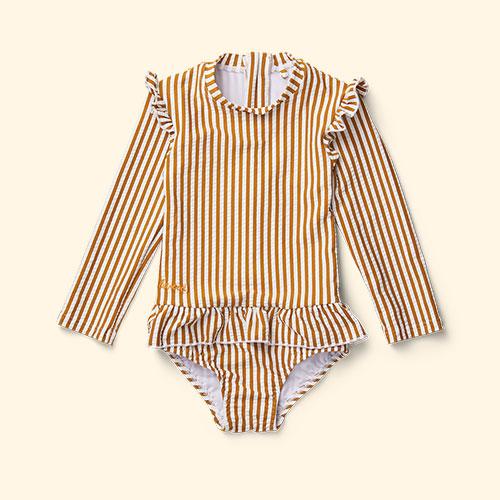 Mustard Stripe Liewood Sille Swim Jumpsuit Seersucker