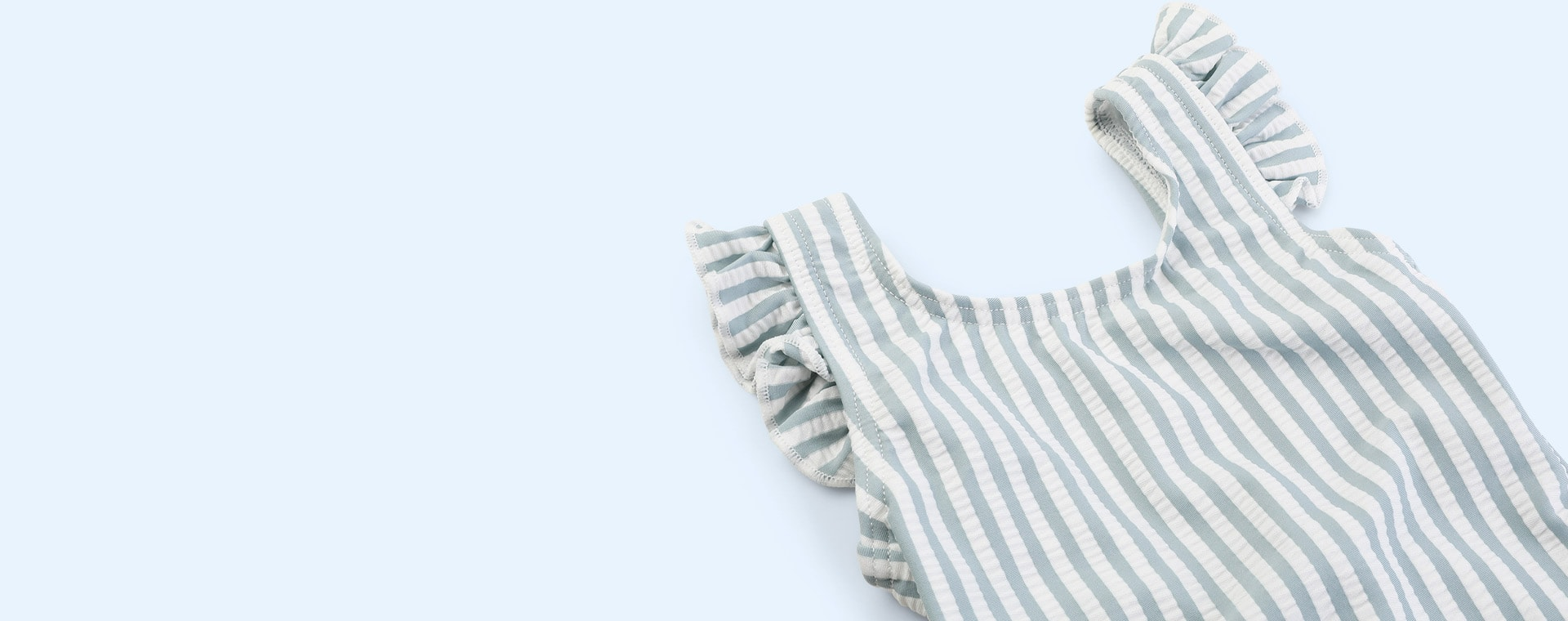 Stripe Sea blue/white Liewood Tanna Swimsuit Seersucker