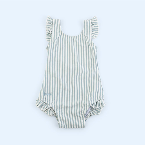 Stripe Sea blue/white Liewood Tanna Swimsuit Seersucker