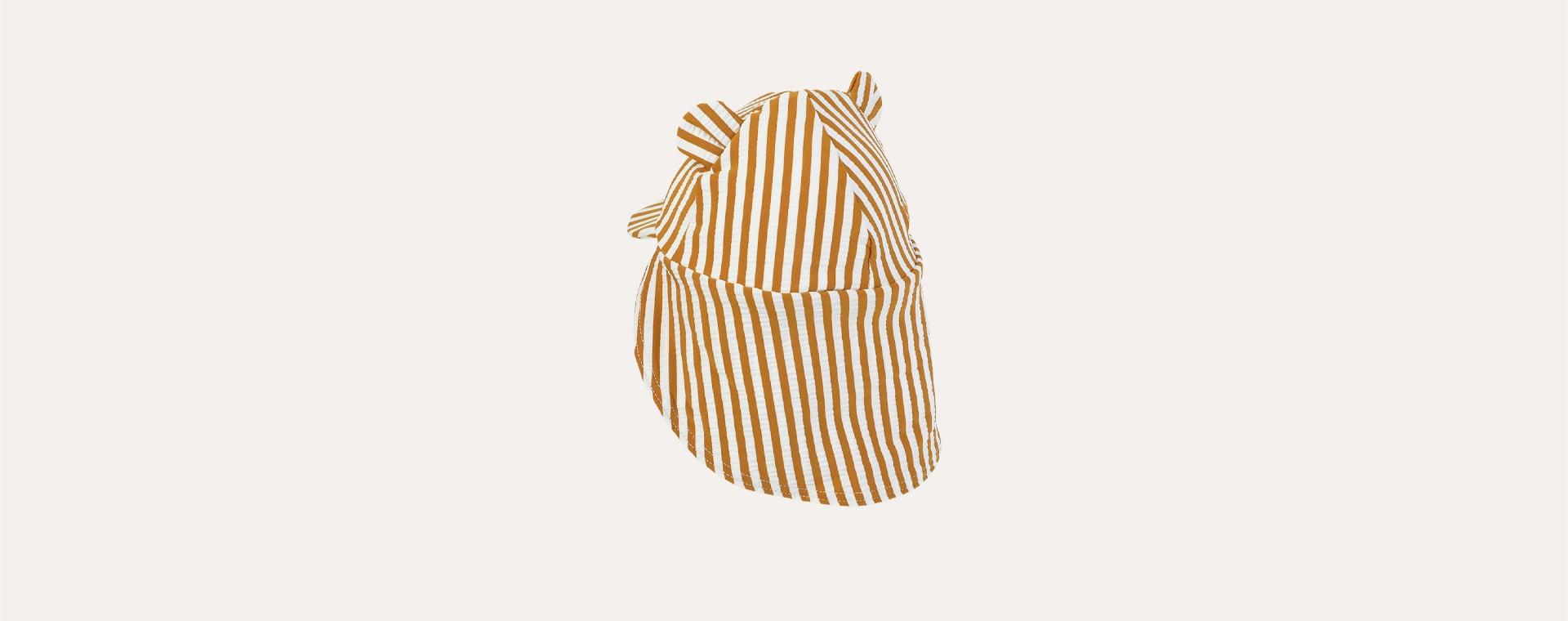 stripe: Mustard/white Liewood Senia Sun Hat Seersucker