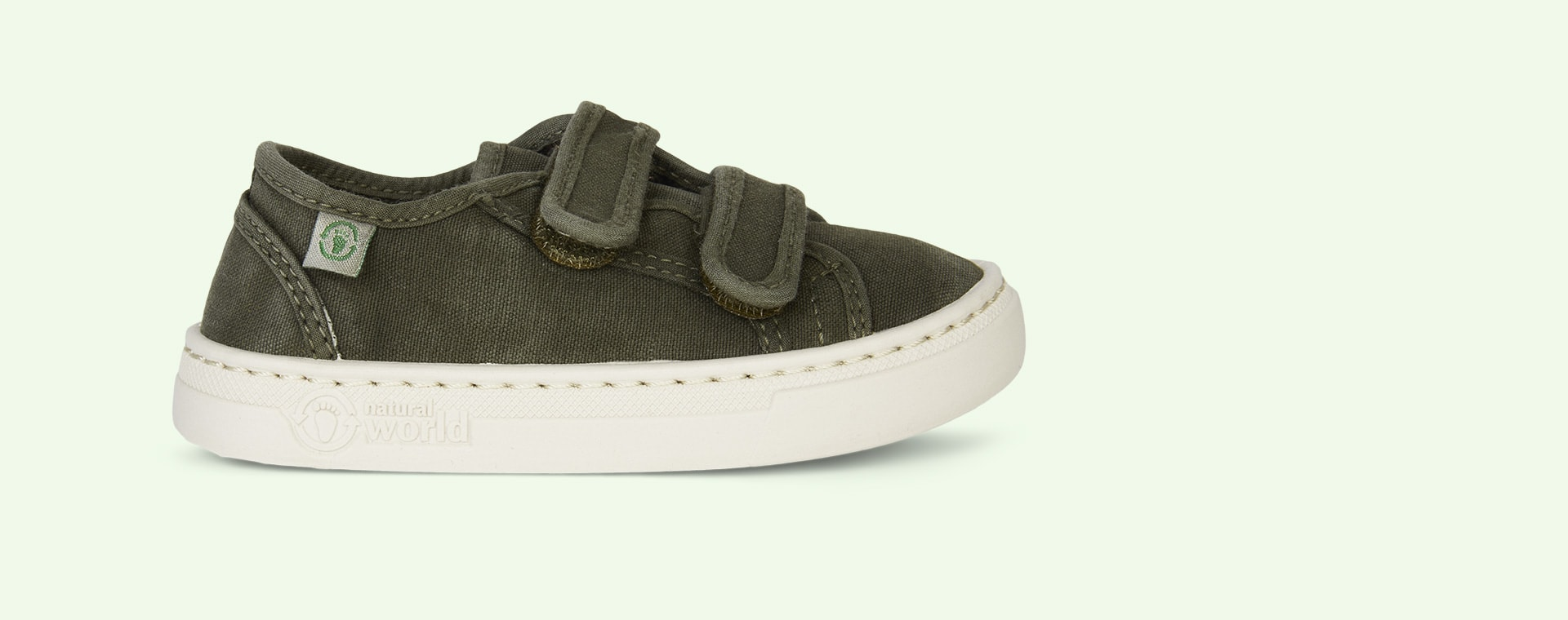 Khaki Natural World Velcro Canvas Trainer
