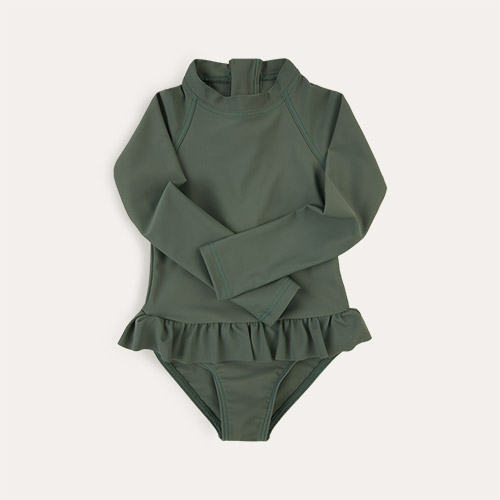 Olive KIDLY Label Eco Long Sleeve Swimsuit