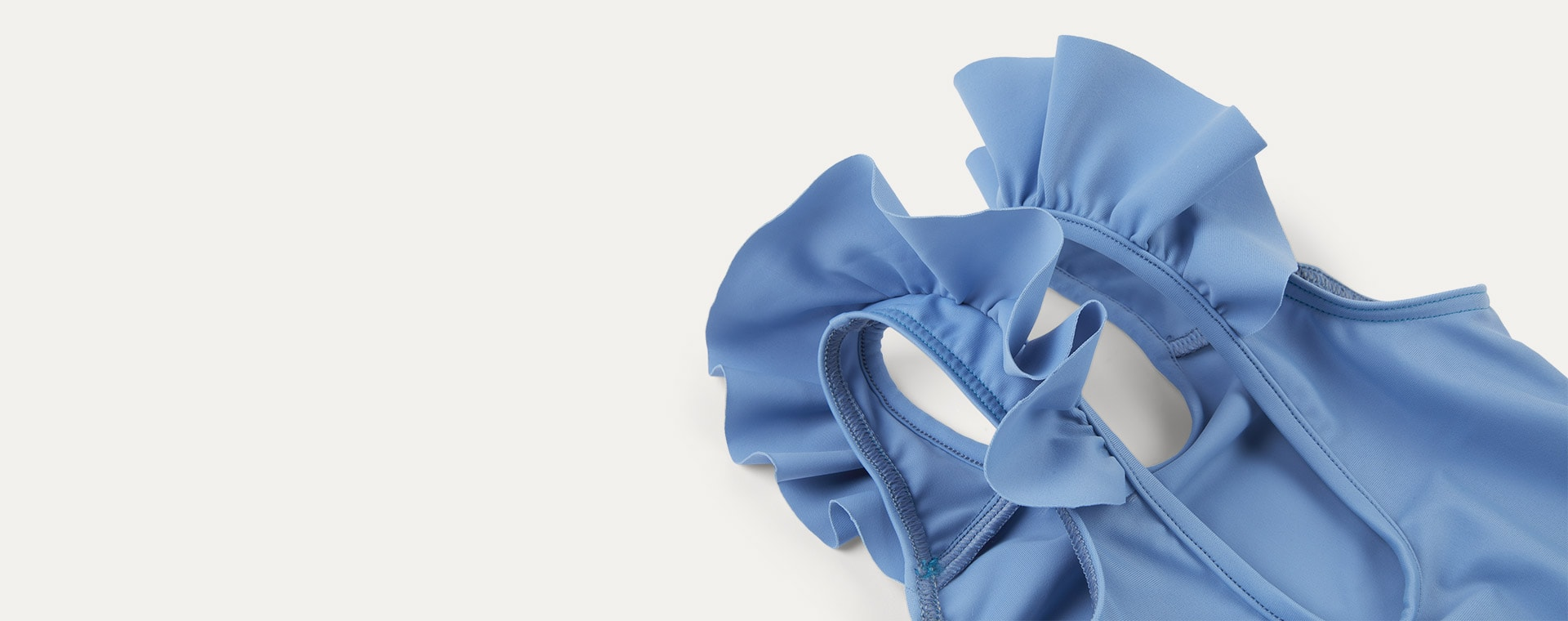Light Blue KIDLY Label Recycled Frill Swimsuit