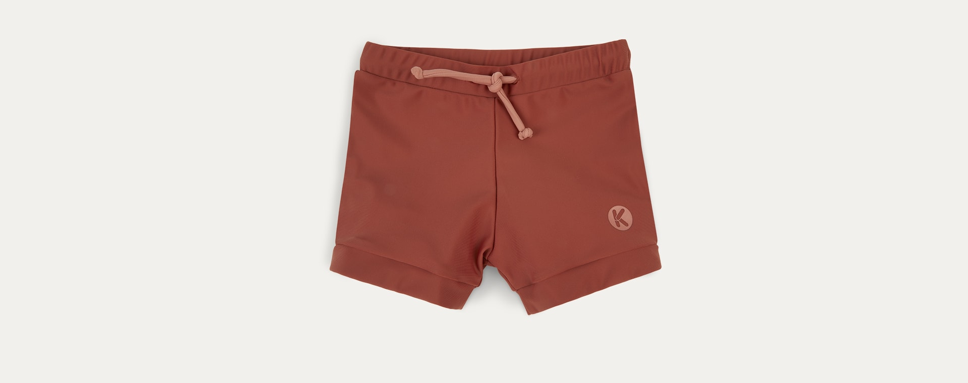 Terracotta KIDLY Label Recycled Swim Trunks