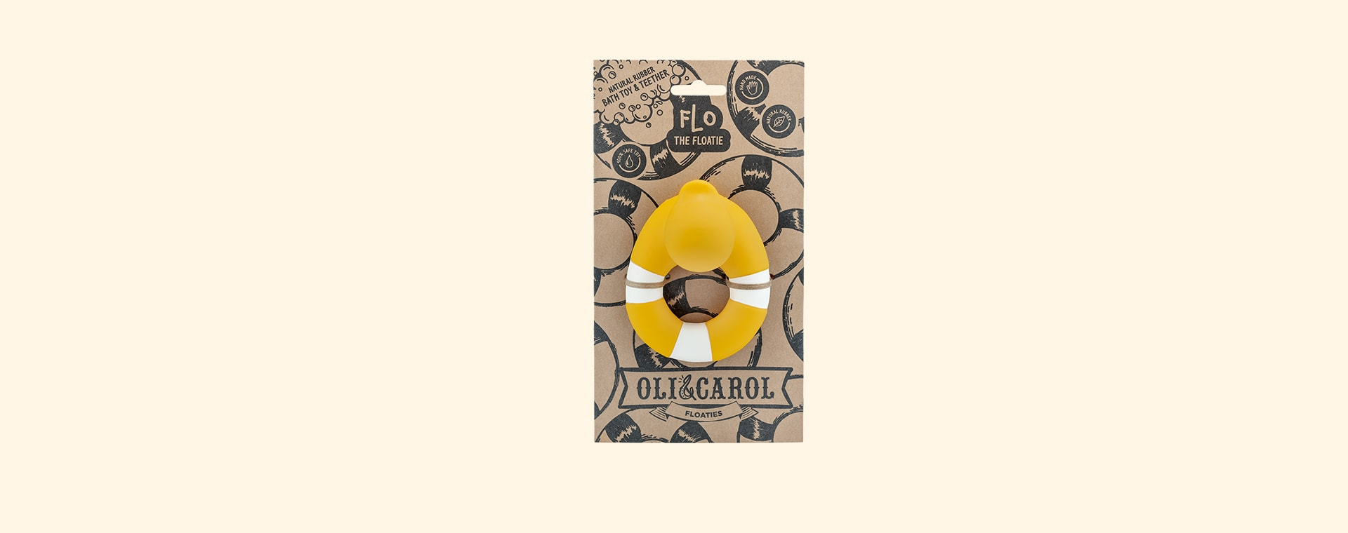 Yellow Oli & Carol Flo the Floatie Teether & Bath Toy