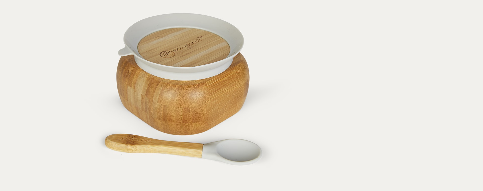Grey eco rascals Bamboo Suction Bowl and Spoon Set