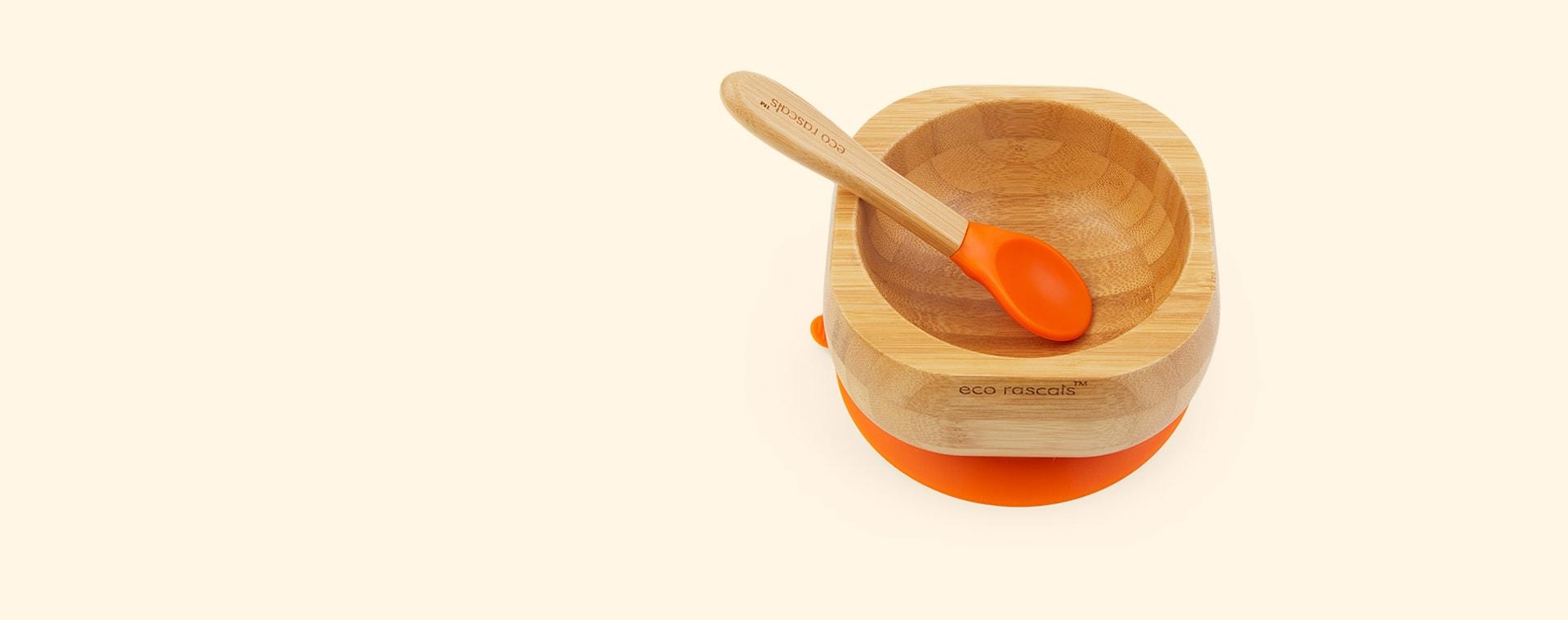 Orange eco rascals Bamboo Suction Bowl and Spoon Set