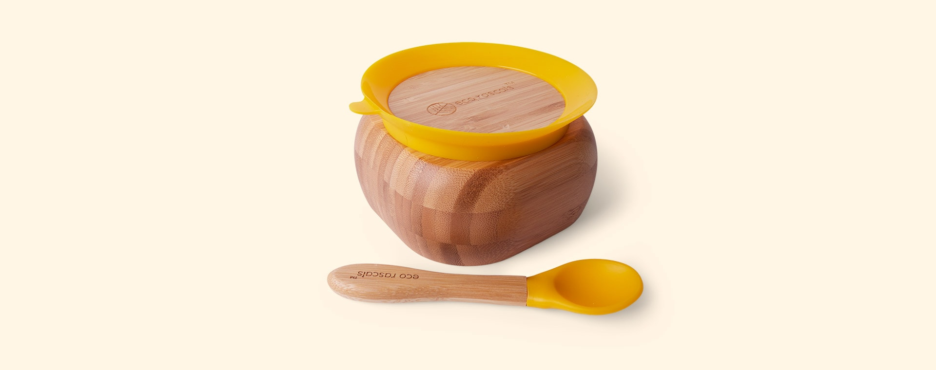 Yellow eco rascals Bamboo Suction Bowl and Spoon Set