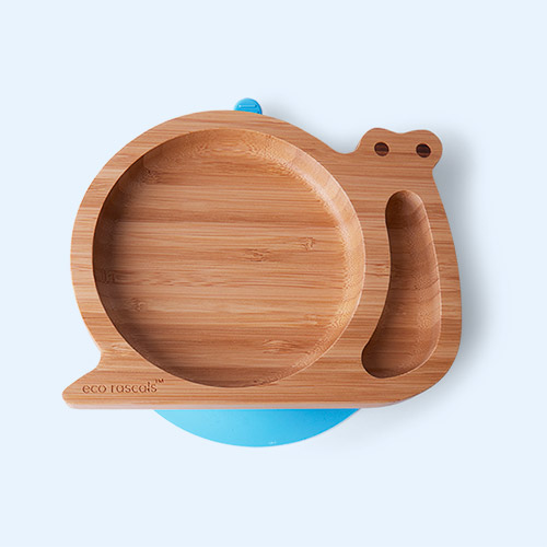 Blue eco rascals Bamboo Suction Snail Baby Plate