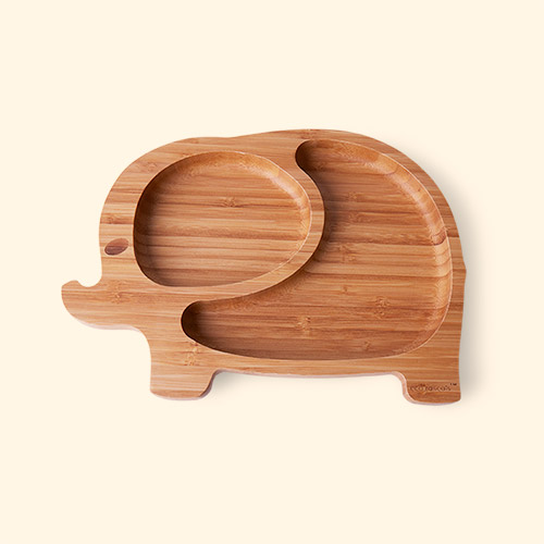 Yellow eco rascals Bamboo Suction Elephant Toddler Plate
