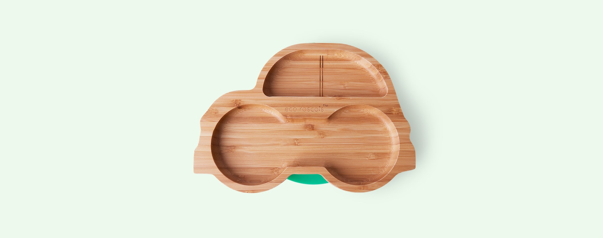 Green eco rascals Bamboo Suction Car Toddler Plate