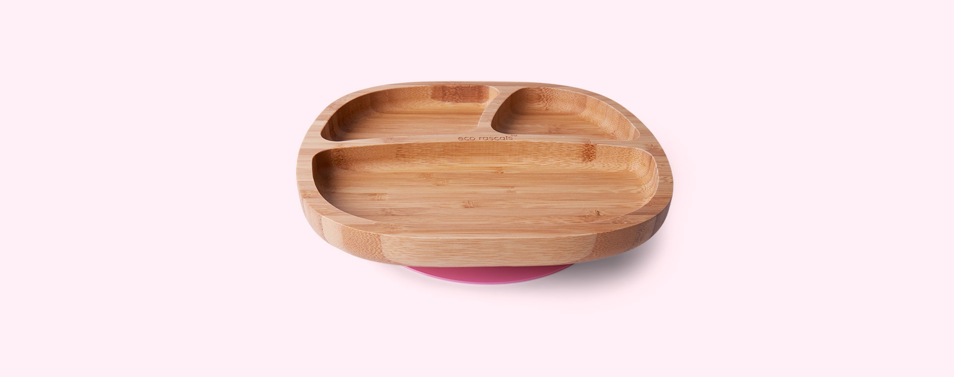 Pink eco rascals Bamboo Suction Toddler Plate