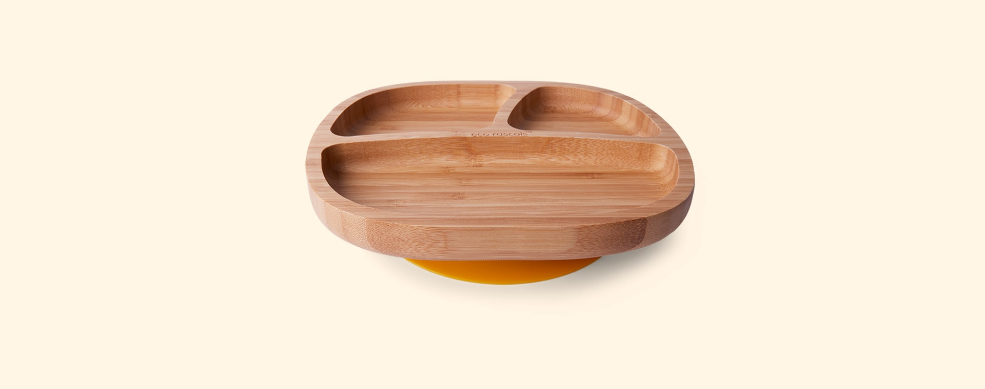 Yellow eco rascals Bamboo Suction Toddler Plate