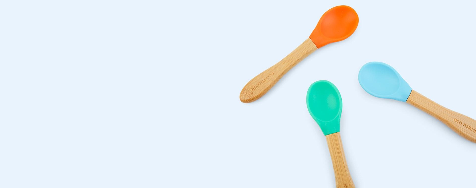 Blue, Green, Orange eco rascals 3-Pack Bamboo Spoons