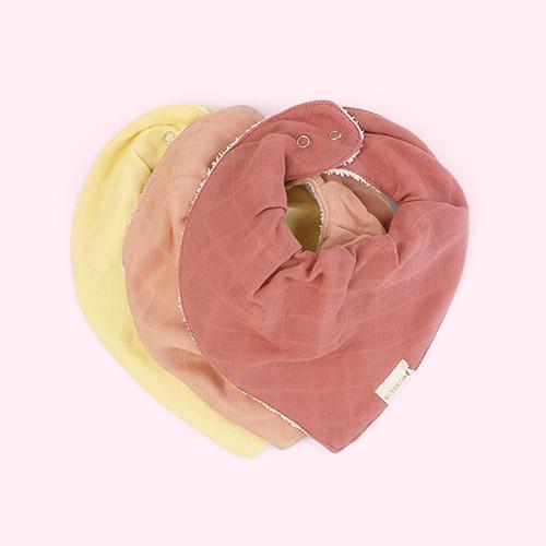 Pastel Flower Fabelab Bandana Bibs 3-pack