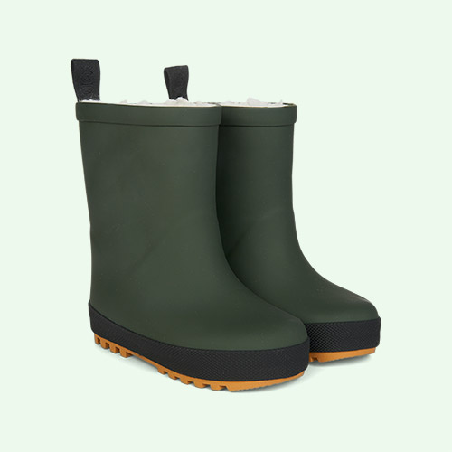 Hunter Green/Black Mix Liewood Mason Thermo Rain Boot
