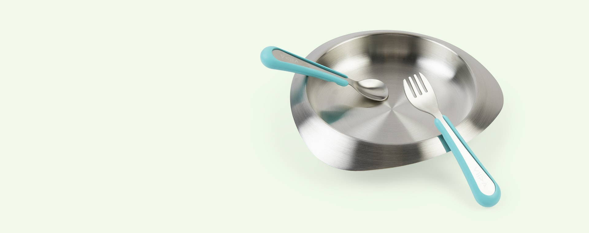 Turquoise Green VIIDA Soufflé Antibacterial Stainless Steel Fork & Spoon Set