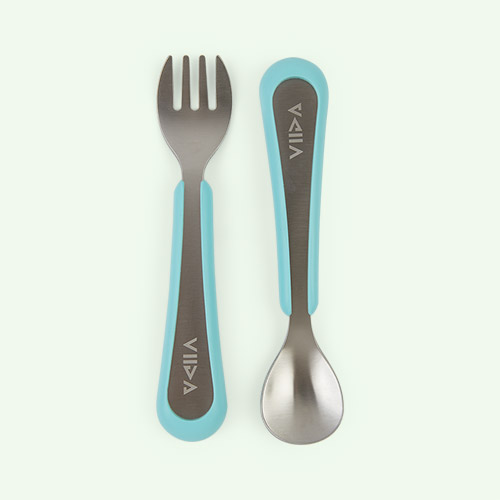 Turquoise Green VIIDA Soufflé Antibacterial Stainless Steel Fork & Spoon Set