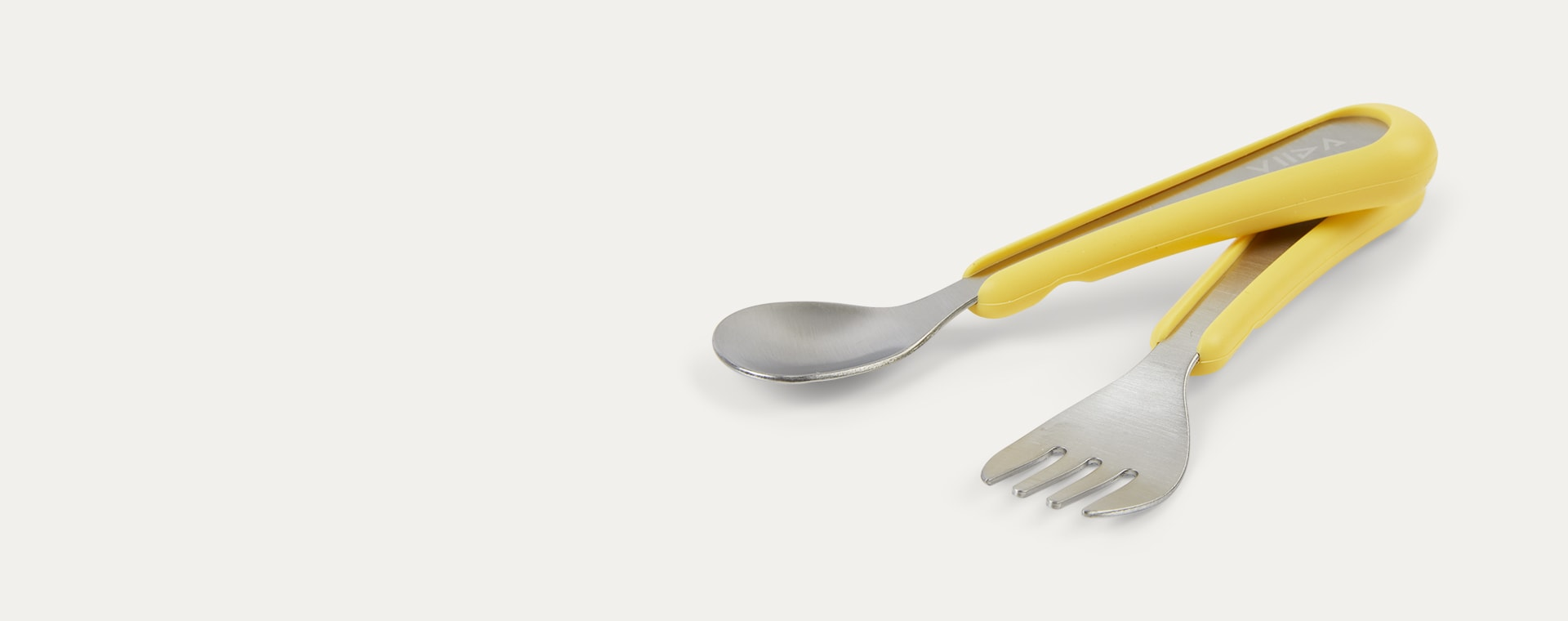 Lemon Yellow VIIDA Soufflé Antibacterial Stainless Steel Fork & Spoon Set