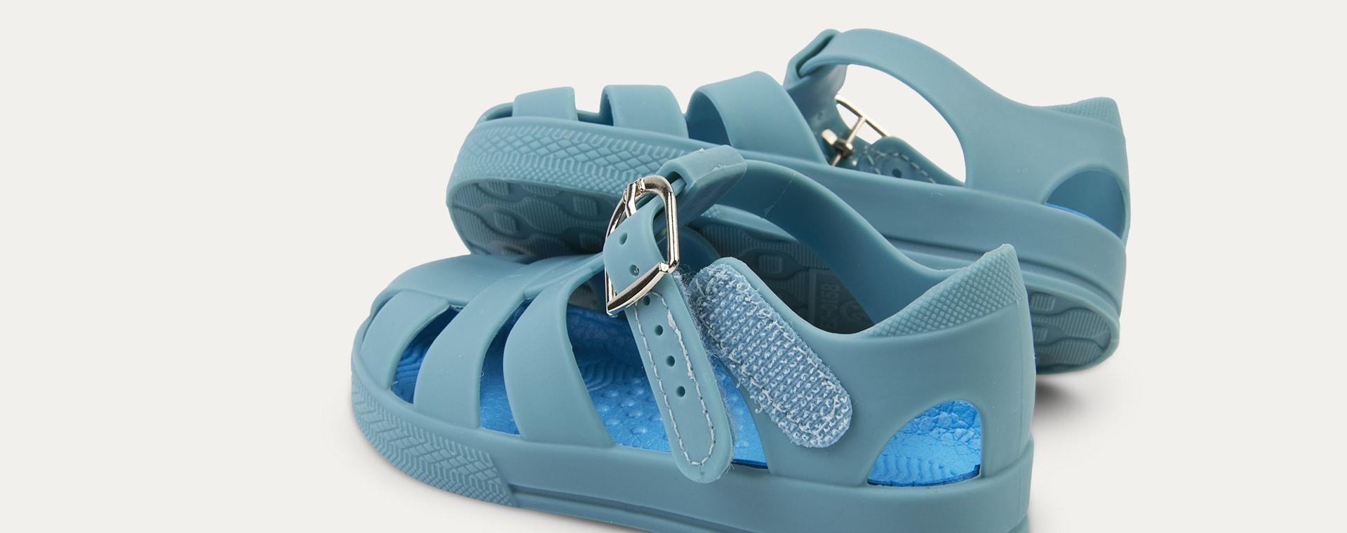 Sea Blue KIDLY Label Jelly Sandal