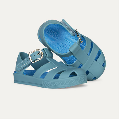 Sea Blue KIDLY Label Jelly Sandal