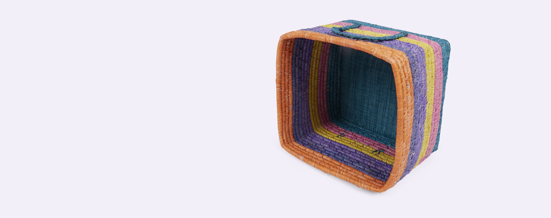 Stripes Rice Let's Summer Square Raffia Basket