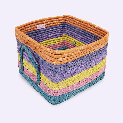 Stripes Rice Let's Summer Square Raffia Basket