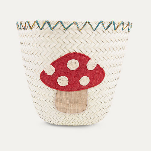 Neutral Rice Mushroom Rafia Storage Basket