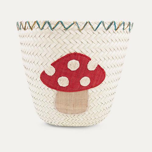 Neutral Rice Mushroom Raffia Storage Basket