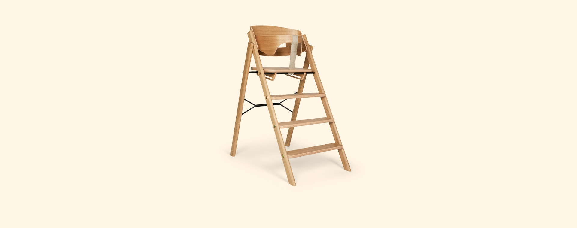 Natural Oak KAOS Foldable Highchair With Safety Rail