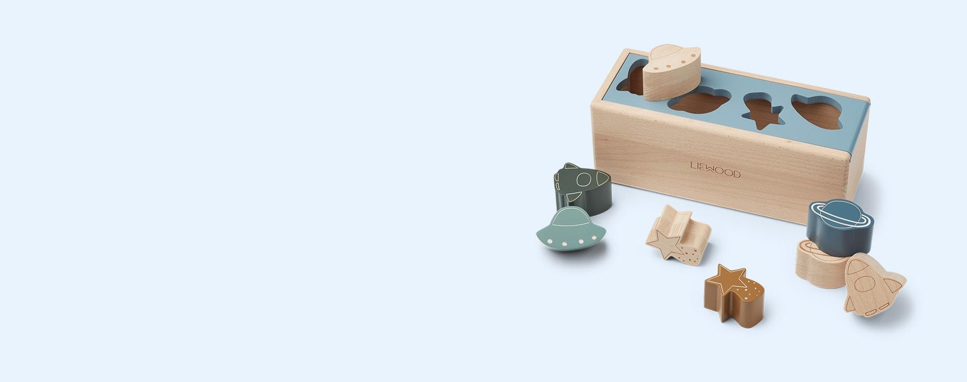 Space Blue Fog Multi Mix Liewood Midas Puzzle Box