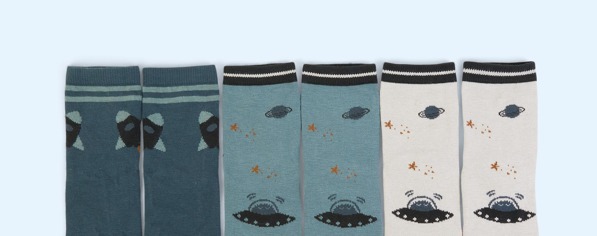 Space Blue Mix Liewood 3-Pack Silas Socks