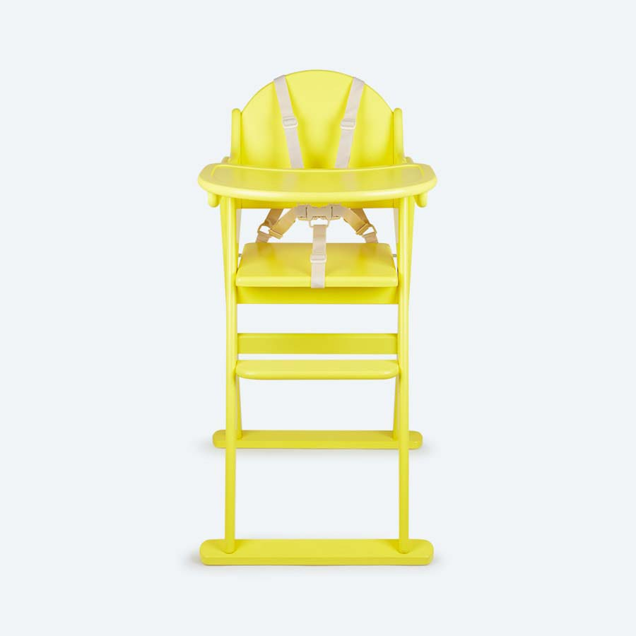 Yellow KIDLY Home Folding Wooden Highchair