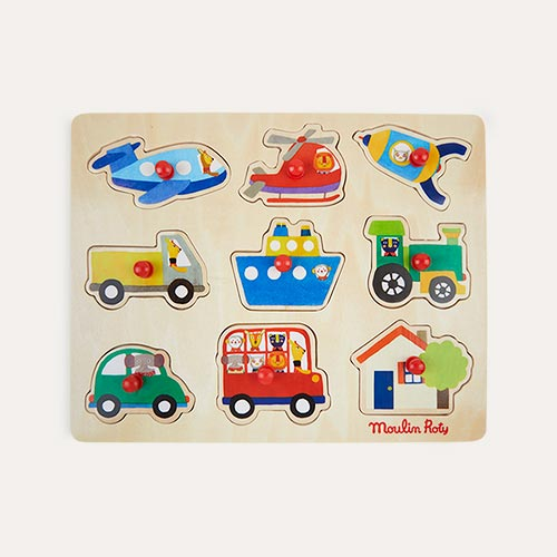 Multi Moulin Roty Wooden Transport Peg Puzzle