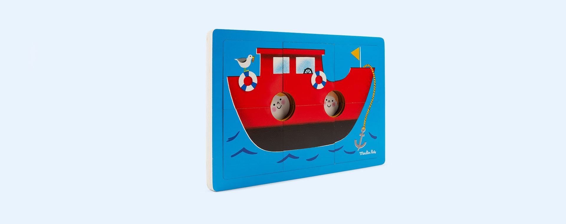 Multi Moulin Roty All Aboard! Wooden Puzzle with 3 Levels