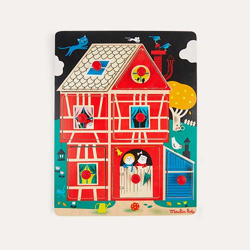 Multi Moulin Roty Home Sweet Home! Wooden Peg Puzzle