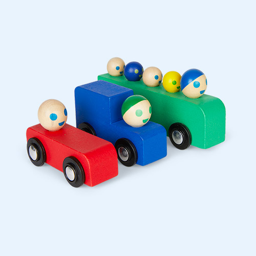 Multi Moulin Roty Set Of Wooden Cars & Bus