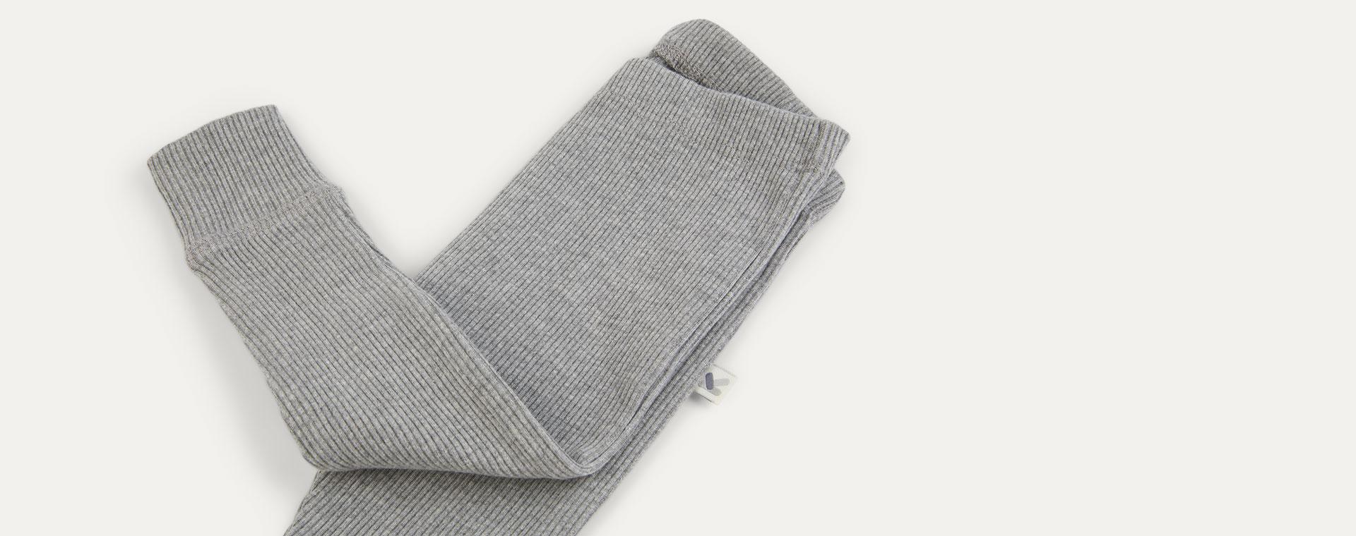Light grey Marl KIDLY Label Organic Ribbed Legging