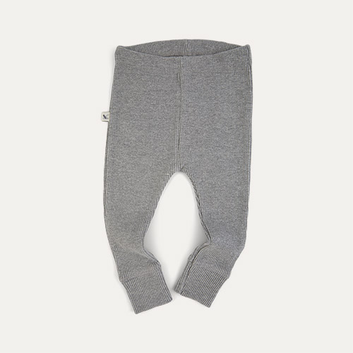 Light grey Marl KIDLY Label Organic Ribbed Legging