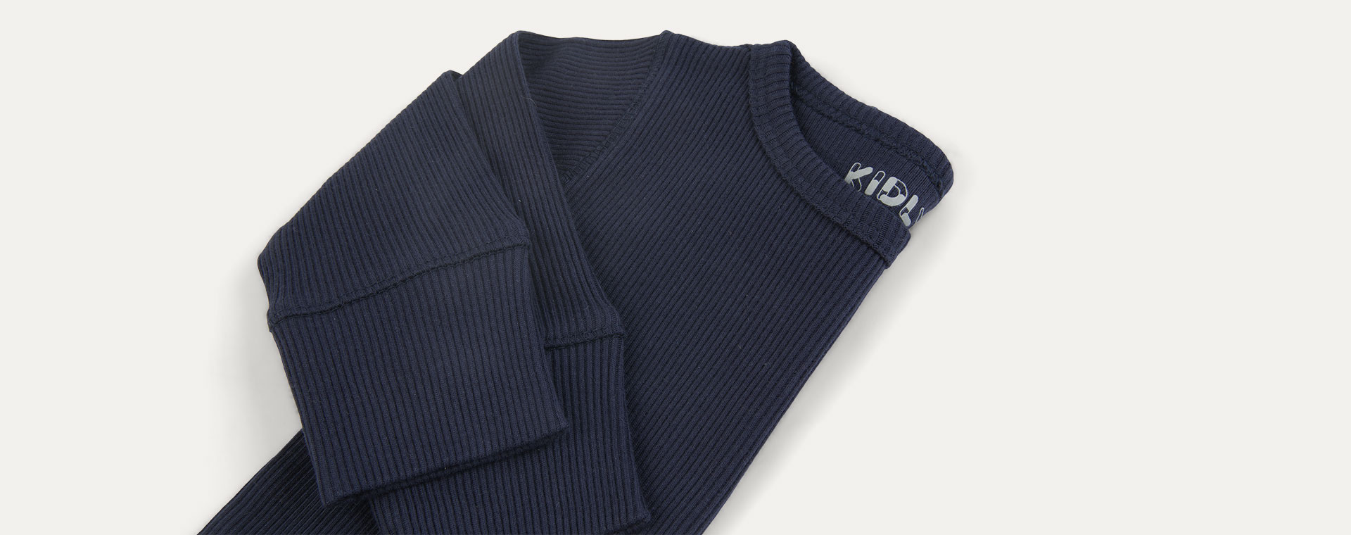 Navy KIDLY Label Organic Ribbed Tee