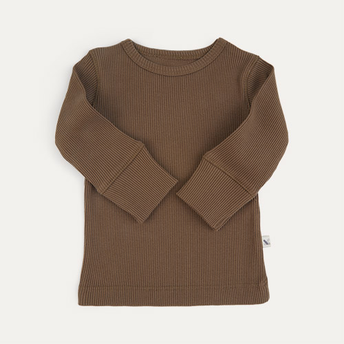 Mocha KIDLY Label Organic Ribbed Tee